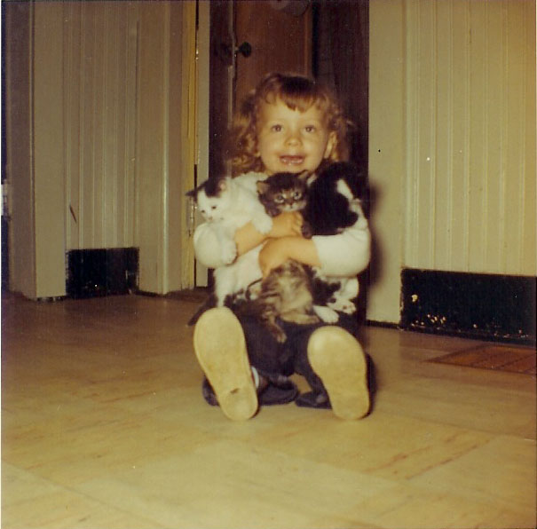 Dori with kittens, 1962