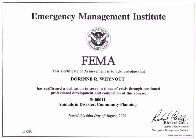 FEMA Animals in Disaster Community Planning Certificate