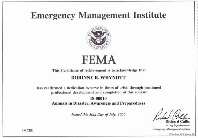 FEMA Animals in Disaster Certificate