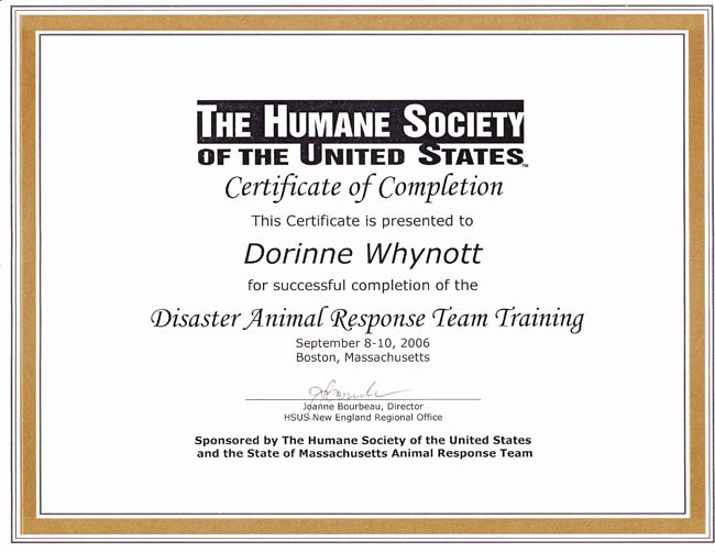 HSUS Disaster Animal Response Team Training Certificate
