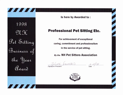 NH Pet Sitting Business of the Year