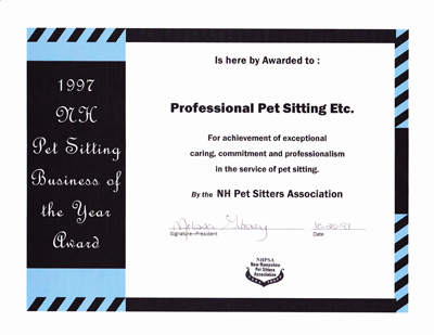NH Pet Sitting Business of the Year 1997